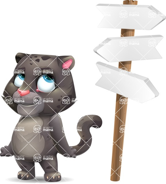 Baby Black Panther Cartoon Vector Character - on a Crossroad with sign pointing in all directions