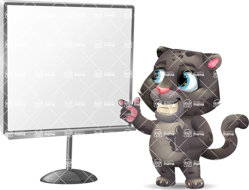 Baby Black Panther Cartoon Vector Character - Pointing on a Blank whiteboard