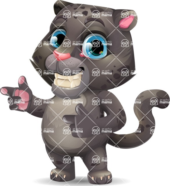 Baby Black Panther Cartoon Vector Character - Pointing with both hands