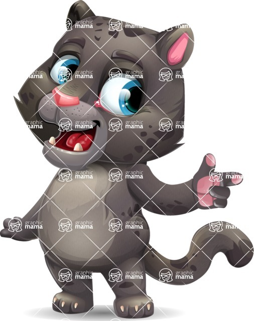 Baby Black Panther Cartoon Vector Character - Pointing with left hand