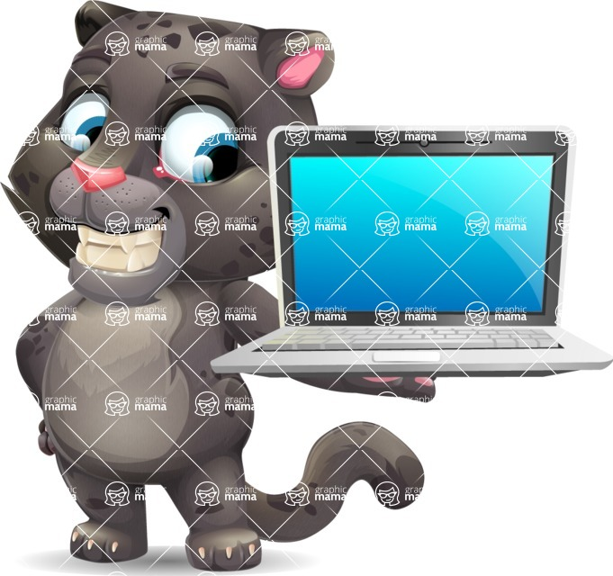Baby Black Panther Cartoon Vector Character - Presenting on laptop