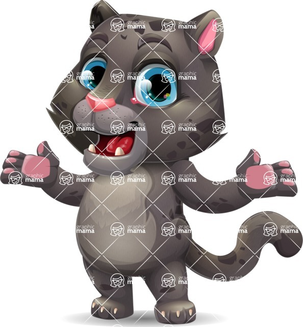 Baby Black Panther Cartoon Vector Character - Presenting with both hands
