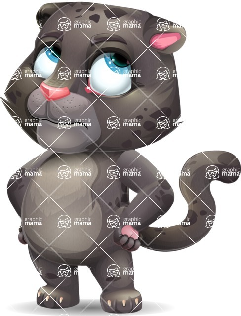 Baby Black Panther Cartoon Vector Character - Rolling Eyes