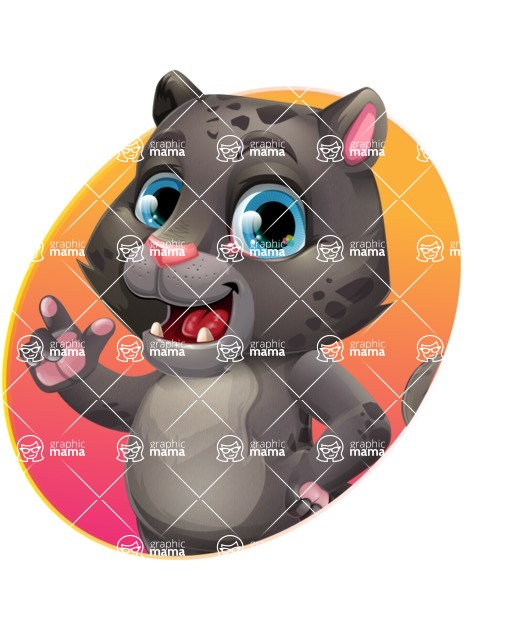 Baby Black Panther Cartoon Vector Character - Shape 1