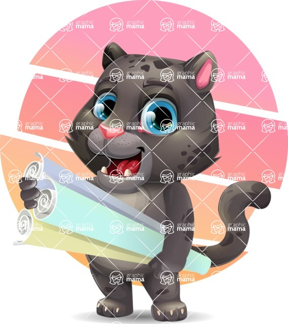 Baby Black Panther Cartoon Vector Character - Shape 10
