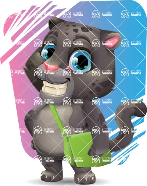 Baby Black Panther Cartoon Vector Character - Shape 11