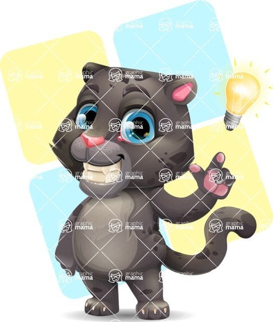 Baby Black Panther Cartoon Vector Character - Shape 12