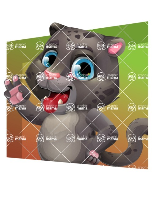 Baby Black Panther Cartoon Vector Character - Shape 3