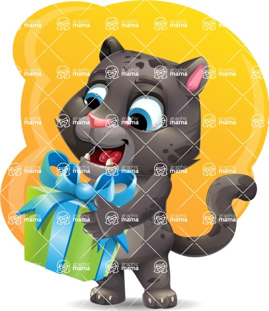 Baby Black Panther Cartoon Vector Character - Shape 5