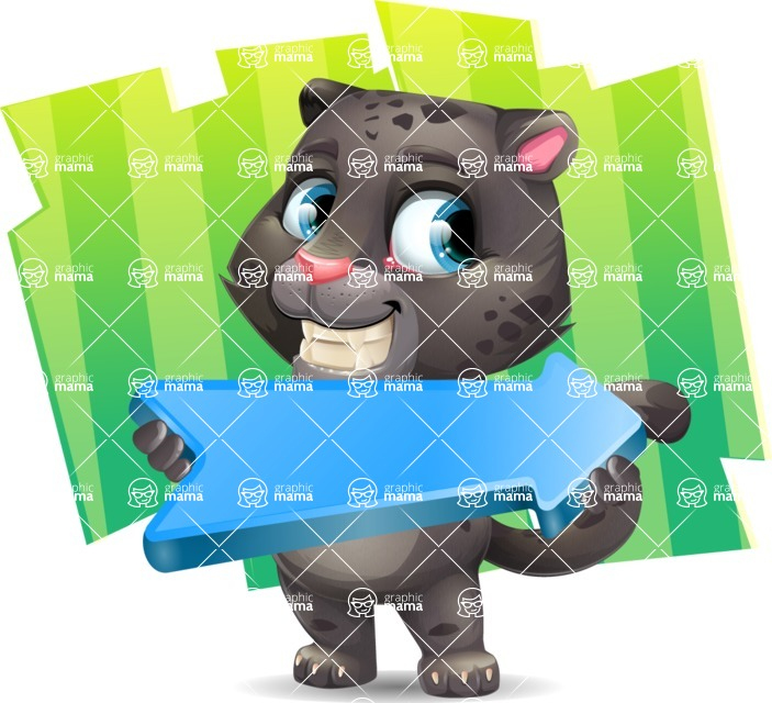 Baby Black Panther Cartoon Vector Character - Shape 8