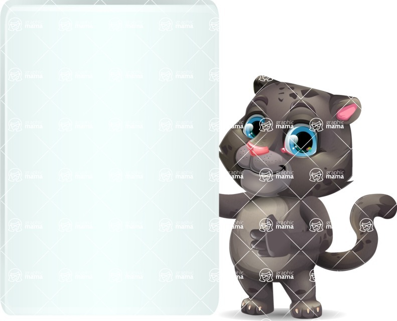 Baby Black Panther Cartoon Vector Character - Showing Big Blank banner