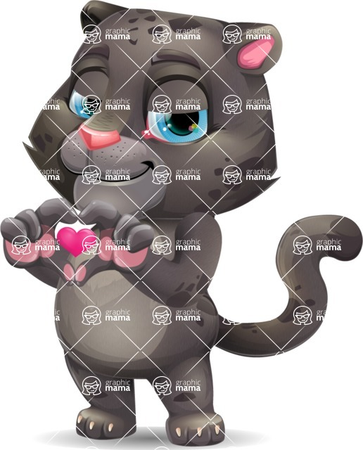 Baby Black Panther Cartoon Vector Character - Showing Love