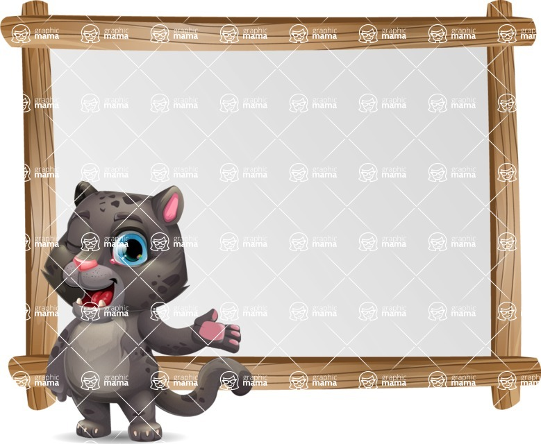 Baby Black Panther Cartoon Vector Character - Showing on Big whiteboard
