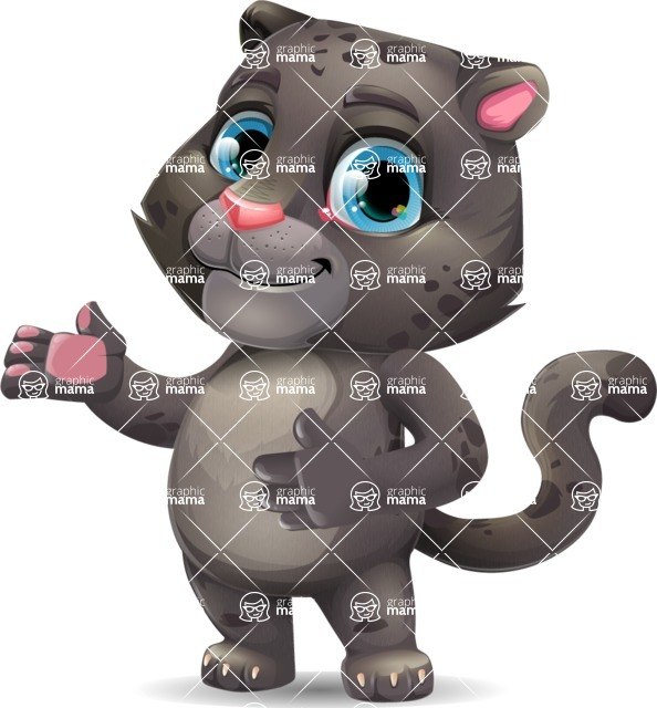 Baby Black Panther Cartoon Vector Character - Showing with both hands