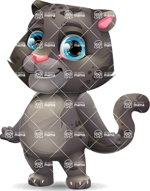 Baby Black Panther Cartoon Vector Character - Smiling