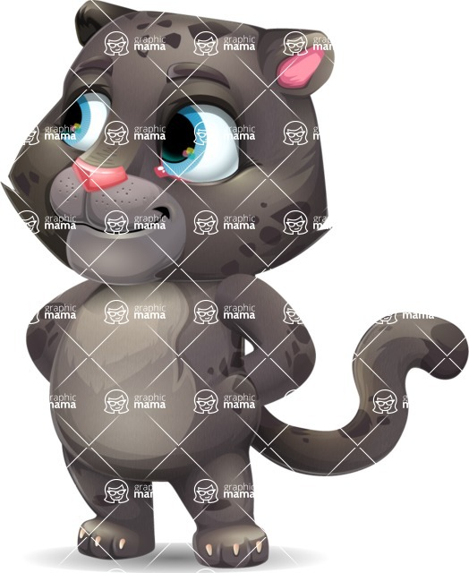 Baby Black Panther Cartoon Vector Character - Waiting with hands behind back