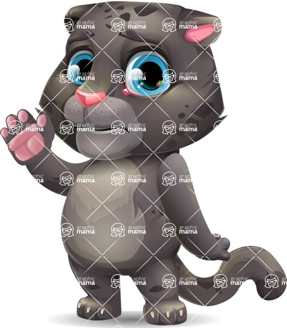 Baby Black Panther Cartoon Vector Character - Waving for Goodbye with a hand