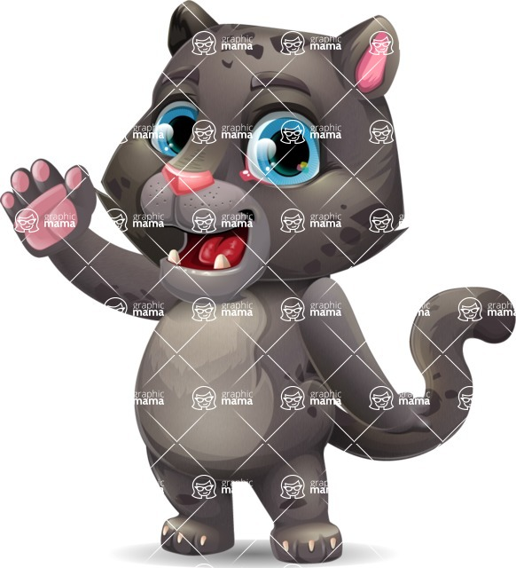 Baby Black Panther Cartoon Vector Character - Waving