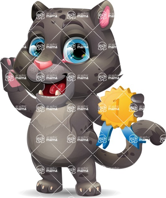 Baby Black Panther Cartoon Vector Character - Winning prize