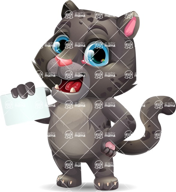 Baby Black Panther Cartoon Vector Character - with a Blank Business card