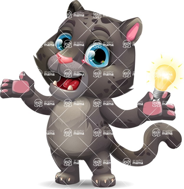 Baby Black Panther Cartoon Vector Character - with an Idea
