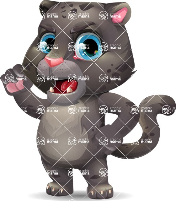 Baby Black Panther Cartoon Vector Character - with Angry face