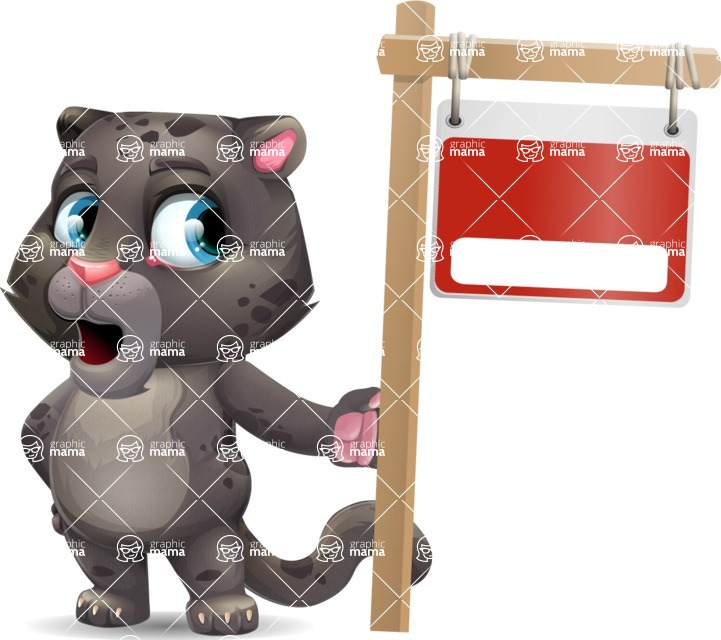 Baby Black Panther Cartoon Vector Character - with Blank Real estate sign