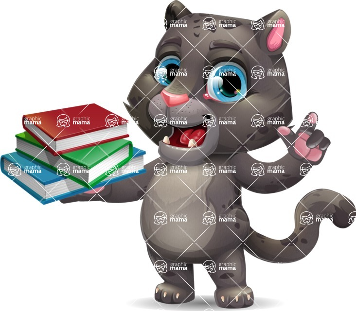 Baby Black Panther Cartoon Vector Character - with Books