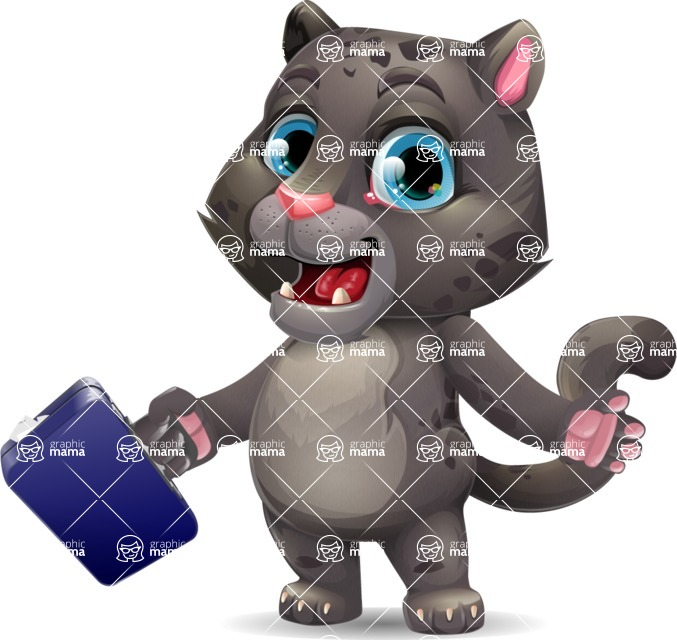 Baby Black Panther Cartoon Vector Character - with Briefcase