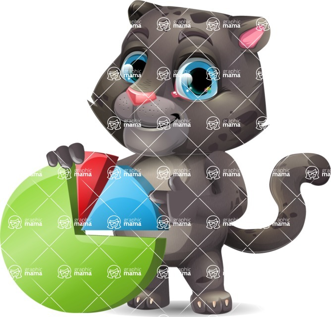 Baby Black Panther Cartoon Vector Character - with Business graph