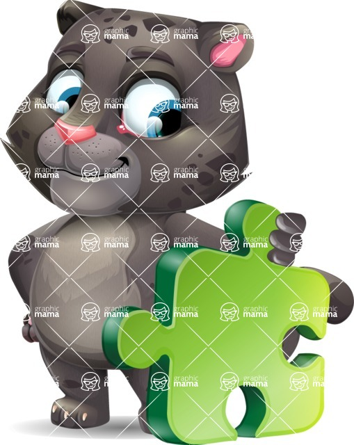 Baby Black Panther Cartoon Vector Character - with Puzzle