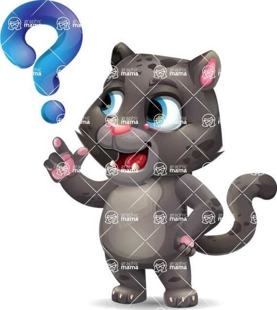 Baby Black Panther Cartoon Vector Character - with Question mark