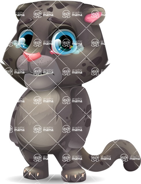 Baby Black Panther Cartoon Vector Character - with Sad face