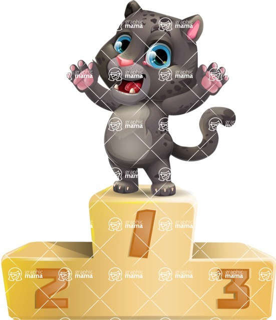 Baby Black Panther Cartoon Vector Character - with Success on Top