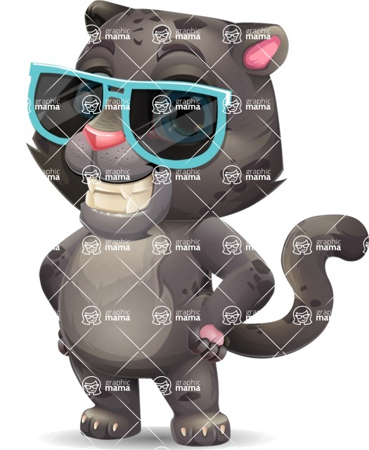 Baby Black Panther Cartoon Vector Character - with Sunglasses