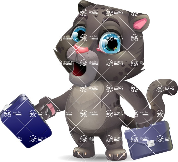 Baby Black Panther Cartoon Vector Character - with Two briefcases