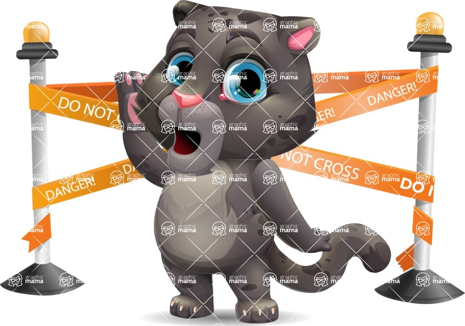 Baby Black Panther Cartoon Vector Character - with Under Construction sign