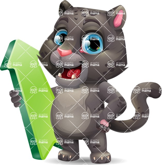Baby Black Panther Cartoon Vector Character - with Up arrow
