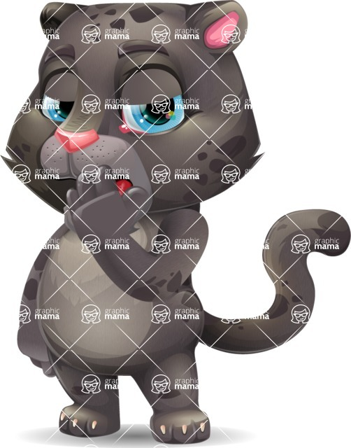 Baby Black Panther Cartoon Vector Character - Yawning