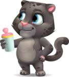 Baby Black Panther Cartoon Vector Character - Drinking milk