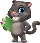 Baby Black Panther Cartoon Vector Character - Holding a book
