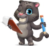 Baby Black Panther Cartoon Vector Character - Holding a notepad with pencil