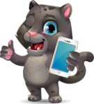 Baby Black Panther Cartoon Vector Character - Holding a smartphone