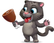 Baby Black Panther Cartoon Vector Character - Holding ham on a bone