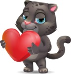 Baby Black Panther Cartoon Vector Character - Holding heart