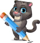 Baby Black Panther Cartoon Vector Character - Holding Pencil