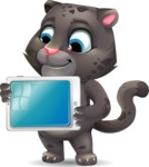Baby Black Panther Cartoon Vector Character - Holding tablet