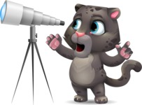Baby Black Panther Cartoon Vector Character - Looking through telescope
