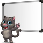 Baby Black Panther Cartoon Vector Character - Making a Presentation on a Blank white board