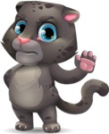 Baby Black Panther Cartoon Vector Character - Making stop with a hand